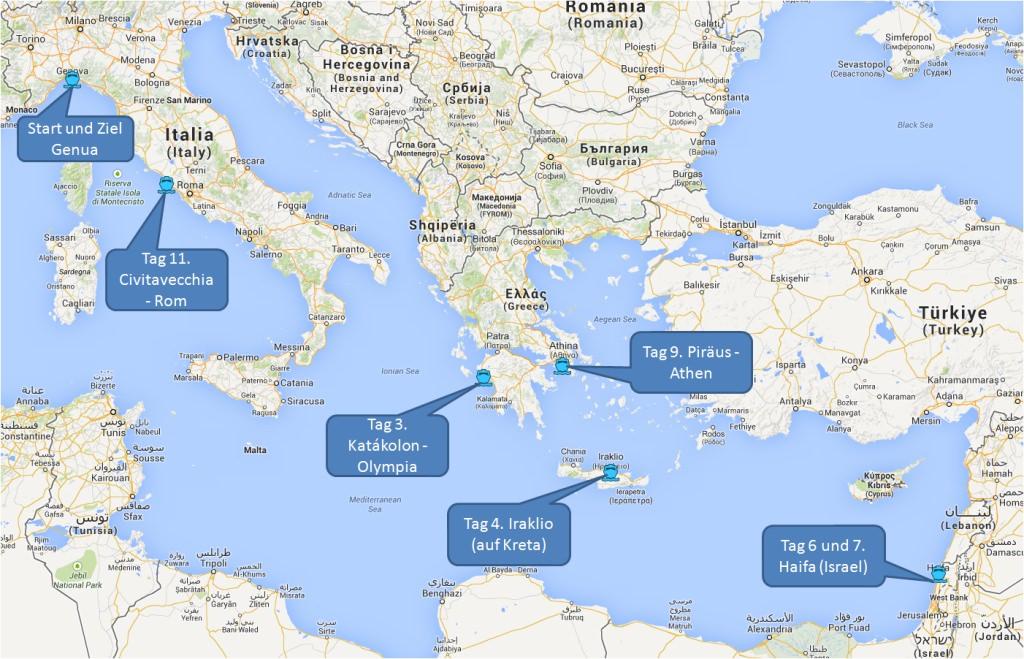 Routenkarte MSC von Genua nach Israel