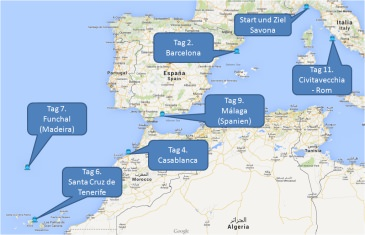 mein-kreuzfahrtwetter-costa-route-savona-barcelona-casablanca-santacruzdetenerifa-funchal-malaga-civitavecchia-savona